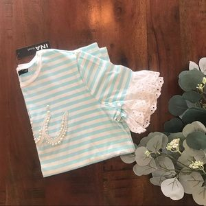 SHEIN Striped Top in Eyelet and Pearl